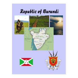Carte postale de carte du Burundi
