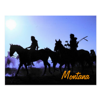 Carte postale de cavaliers du Montana