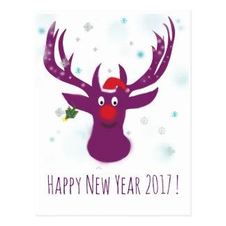 Carte postale de cerfs communs de la bonne année
