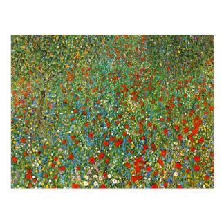 Carte postale de champ de pavot de Gustav Klimt