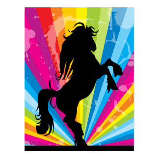 Carte postale de cheval de silhouette de techno