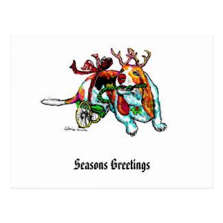 Carte postale de chien d'incapacité de Noël