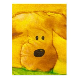 Carte postale de chiot d'aquarelle