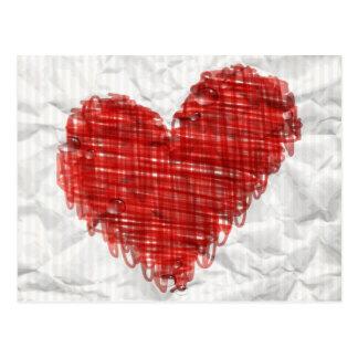 Carte postale de coeur de griffonnage