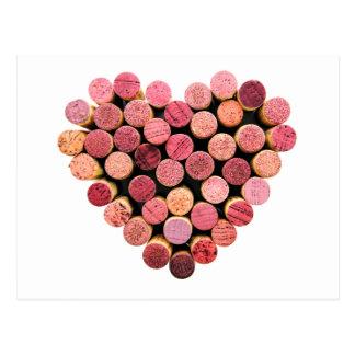 Carte postale de coeur de liège de vin