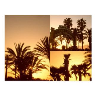Carte postale de collage de coucher du soleil de
