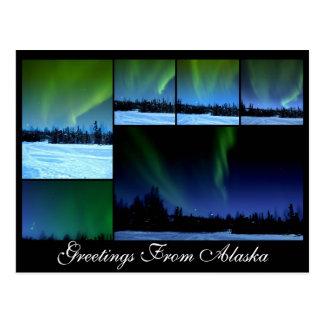 Carte postale de collage de l'aurore d'Alaksa