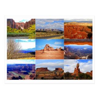 Carte postale de collage d'icône de l'Utah