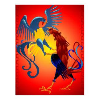 Carte postale de combat colorée de deux coqs
