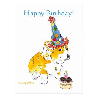 Carte postale de corgi de joyeux anniversaire
