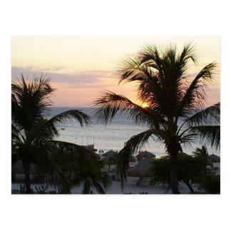 Carte postale de coucher du soleil d'Aruba de