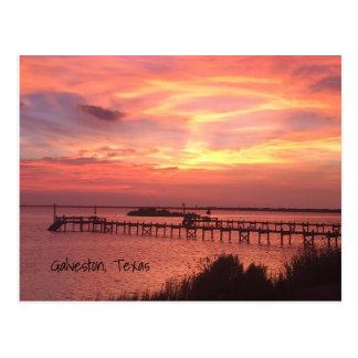 Carte postale de coucher du soleil de Galveston le