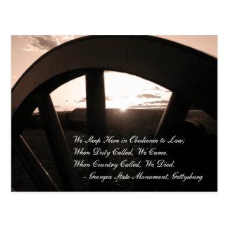 Carte postale de coucher du soleil de Gettysburg