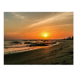 Carte postale de coucher du soleil de la Gambie