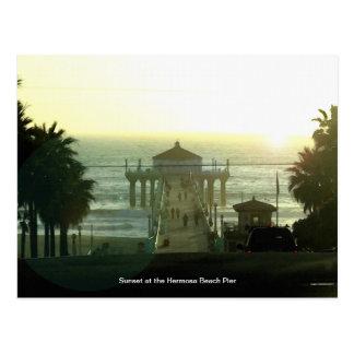 Carte postale de coucher du soleil de pilier de
