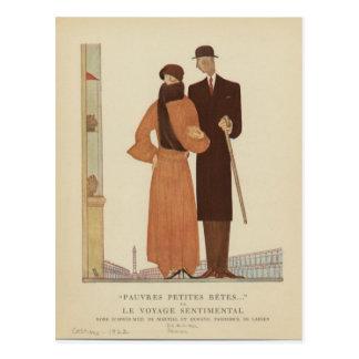 Carte Postale ~ de couples d'art déco des années 1920 le voyage