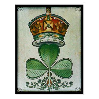 Carte postale de couronne et de shamrock