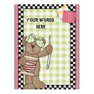 Carte postale de couture d'ours