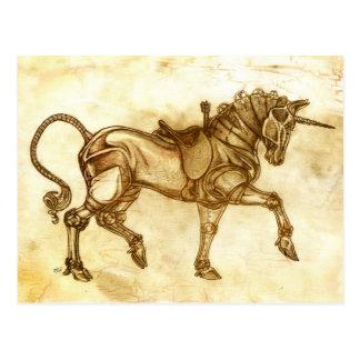 Carte postale de croquis de licorne de Steampunk