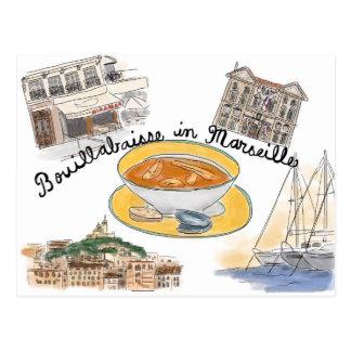 Carte postale de croquis de voyage : Bouillabaisse