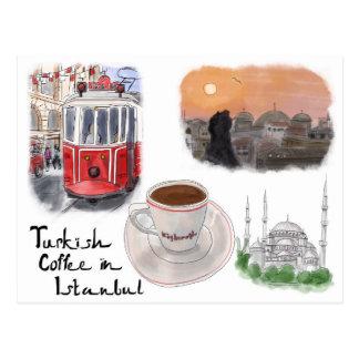 Carte postale de croquis de voyage : Café turc à