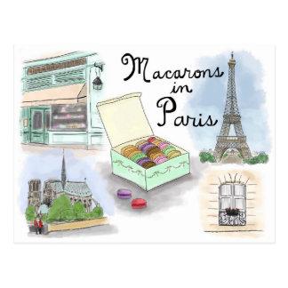 Carte postale de croquis de voyage : Macarons à