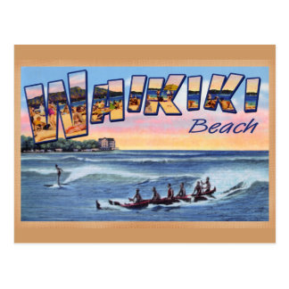 Carte postale de cru de club de plage de Waikiki