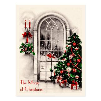 Carte postale de cru de fenêtre de Noël