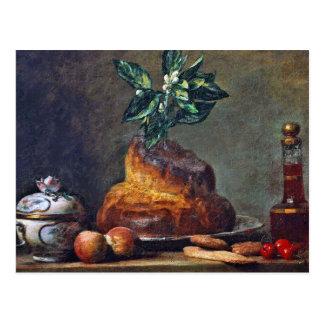 Carte Postale De cru toujours la vie avec la brioche par Chardin
