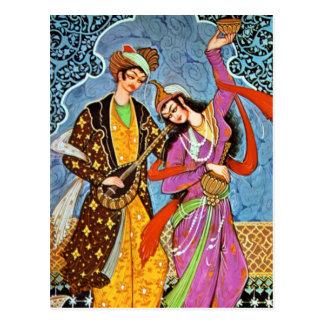 Carte postale de danse Nymphe et de musicien