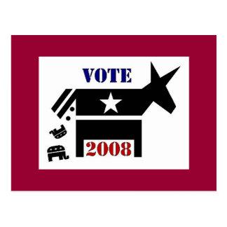 CARTE POSTALE DE DÉMOCRATE DE VOTE EN 2008