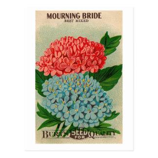 carte postale de deuil vintage de seedpacket de