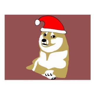 Carte Postale de doge wouah de meme Noël très un tel casquette