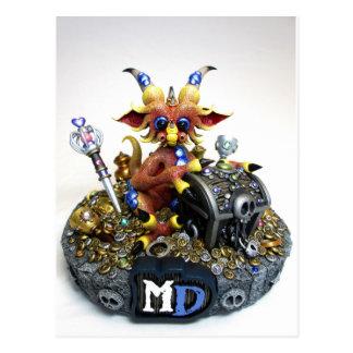 Carte postale de dragon de trésor de DM