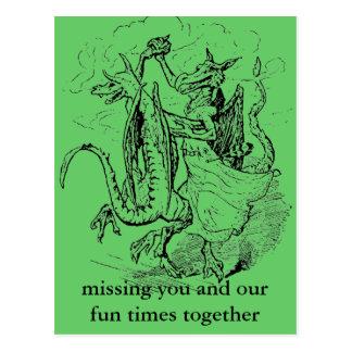 Carte postale de dragons de danse