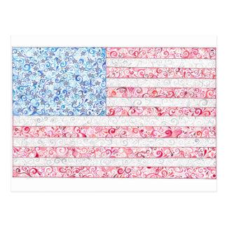 Carte postale de drapeau américain
