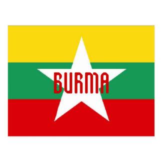 Carte postale de drapeau de la Birmanie Myanmar