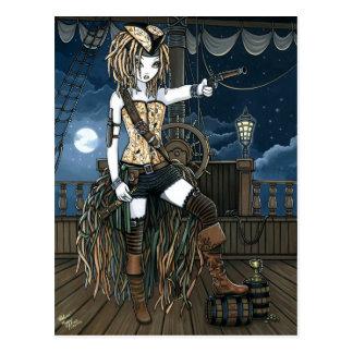 Carte postale de Fae de lune de bateau de pirate
