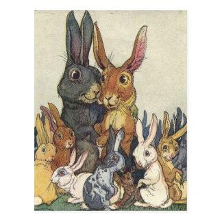 Carte postale de famille de lapin de Pâques