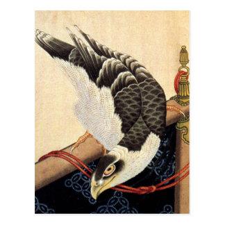 Carte postale de faucon de Hokusai