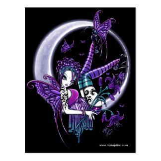 Carte postale de fée de fleur de lune de tatouage