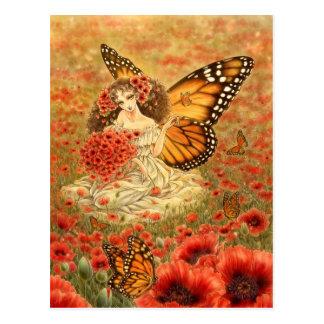 Carte postale de fée de papillon de monarque