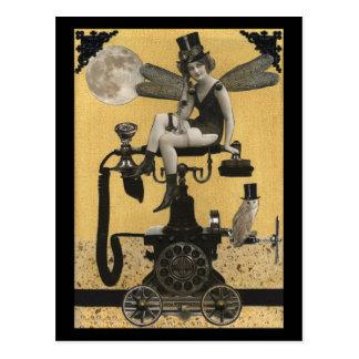 Carte postale de fée de téléphone de Steampunk
