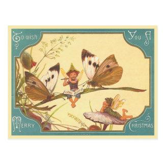 "Carte postale ""de fées de carte de Noël vintage"""