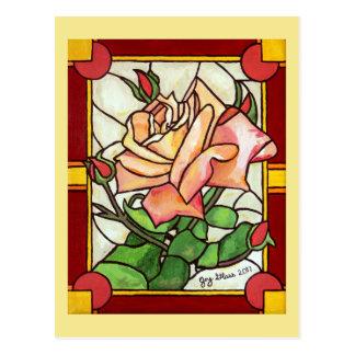 Carte postale de fenêtre rose de pêche