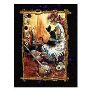 Carte postale de fête de sorcière et de chat
