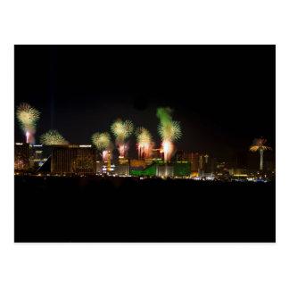 Carte postale de feux d'artifice de Las Vegas