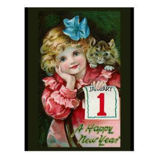 """Carte postale """"de fille de bonne année"""""""