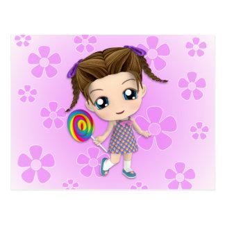 Carte postale de fille de Chibi