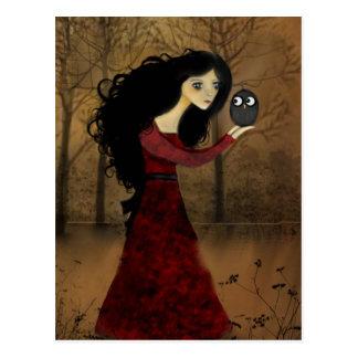 Carte postale de fille et de hibou